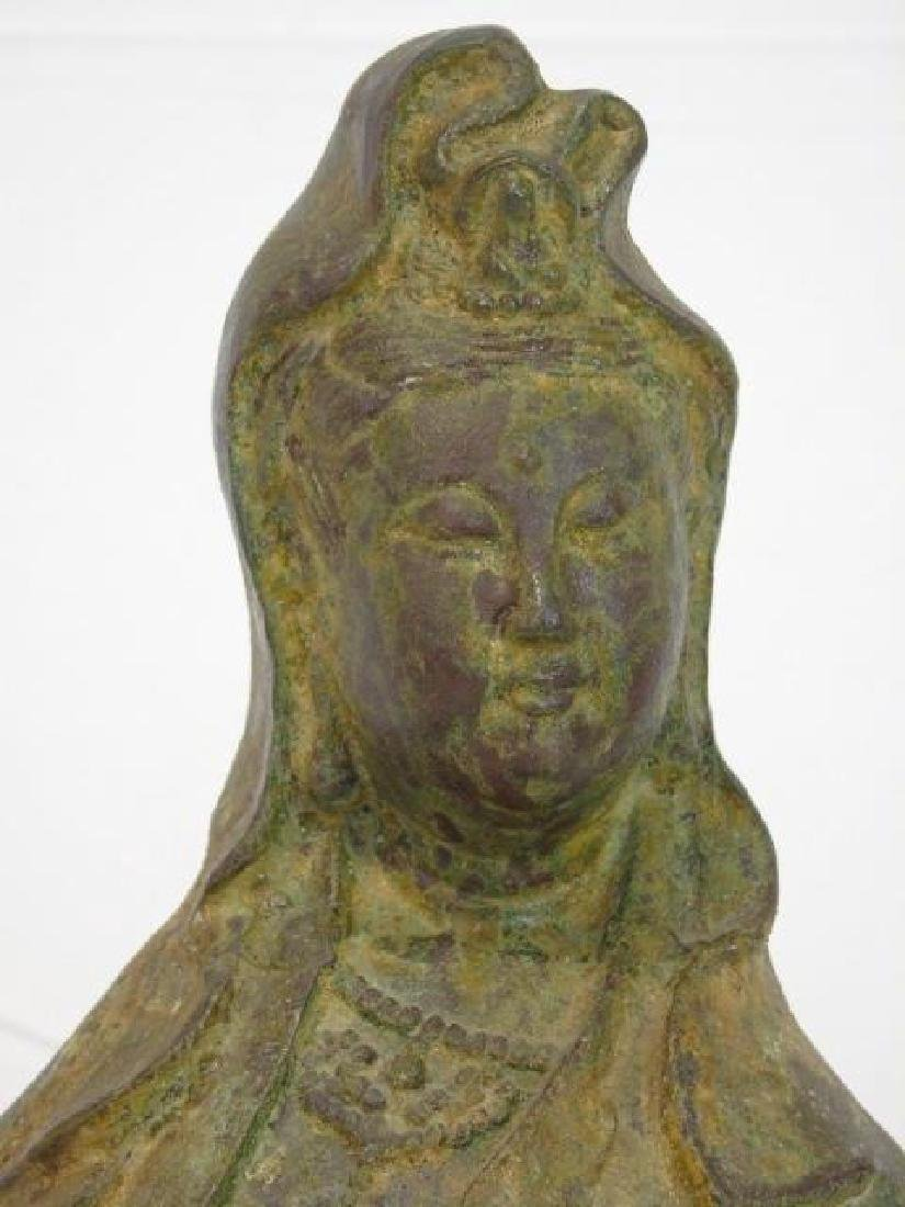 Antique Chinese Bronze Buddha w Basket Statue - 3