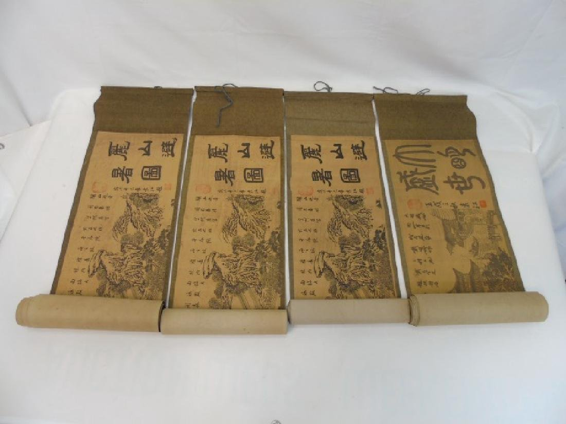 Four Antique Chinese Scrolls w/ Landscape Scenes
