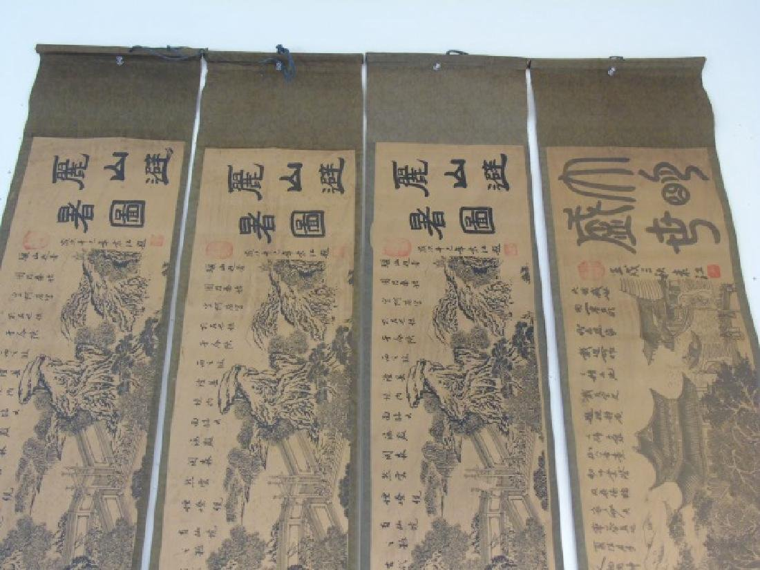 Four Antique Chinese Scrolls w/ Landscape Scenes - 5