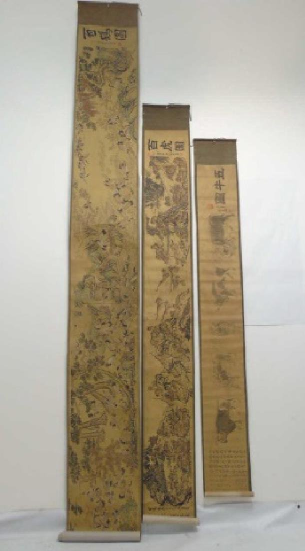 Three Antique Chinese Scrolls w Scenes of Animals