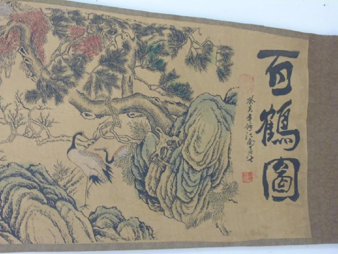 Three Antique Chinese Scrolls w Scenes of Animals - 3