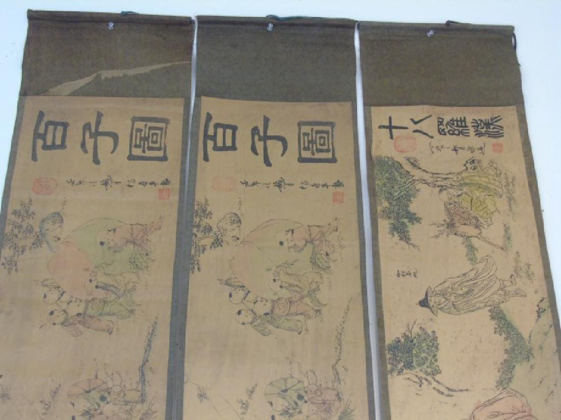 Three Antique Chinese Scrolls w Children & Scholar - 2