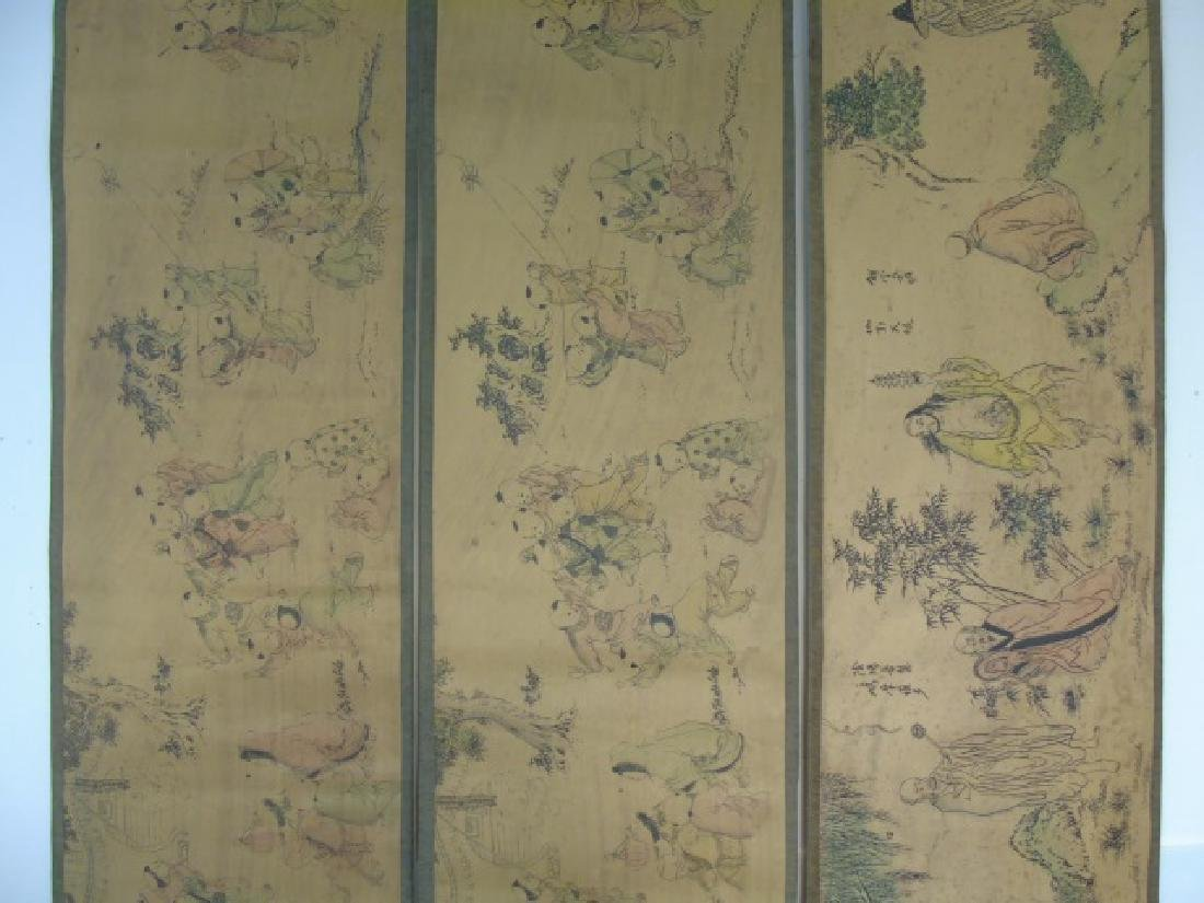 Three Antique Chinese Scrolls w Children & Scholar - 3