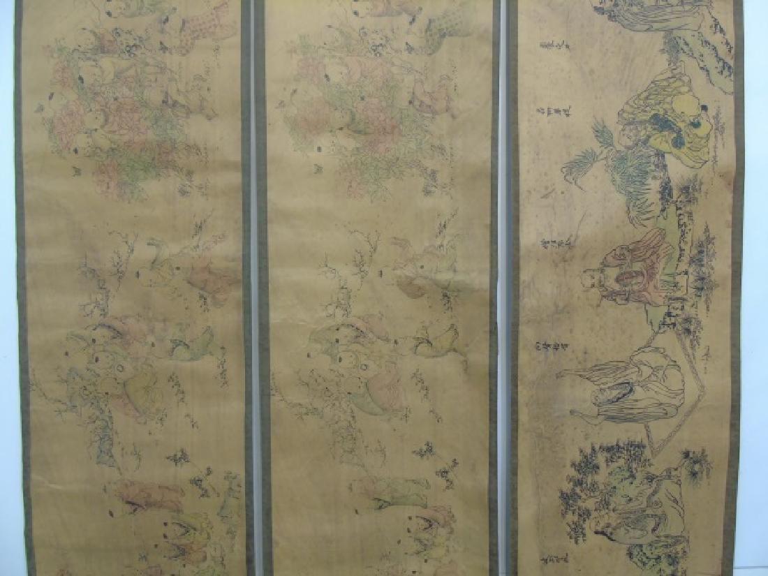 Three Antique Chinese Scrolls w Children & Scholar - 4