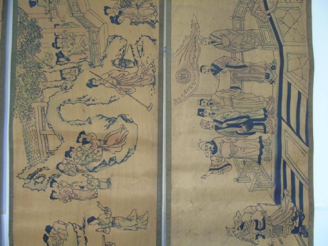 Four Antique Chinese Scrolls w Court Scenes - 2