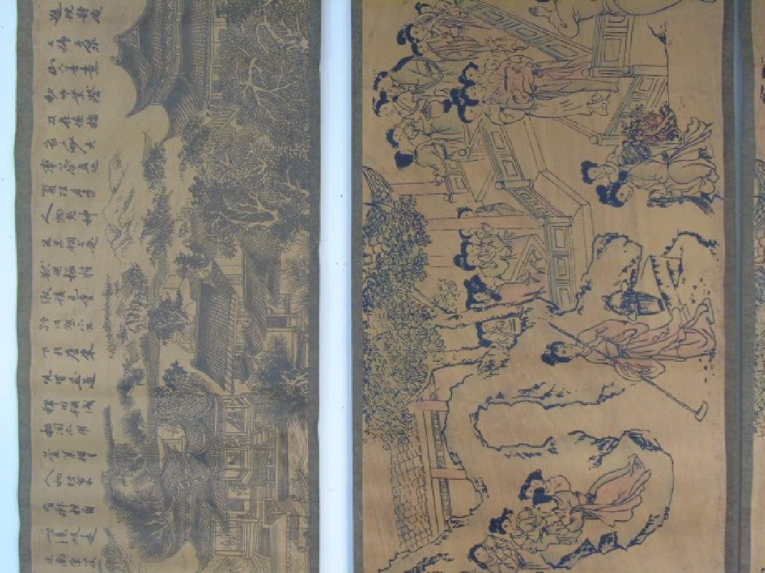 Four Antique Chinese Scrolls w Court Scenes - 4