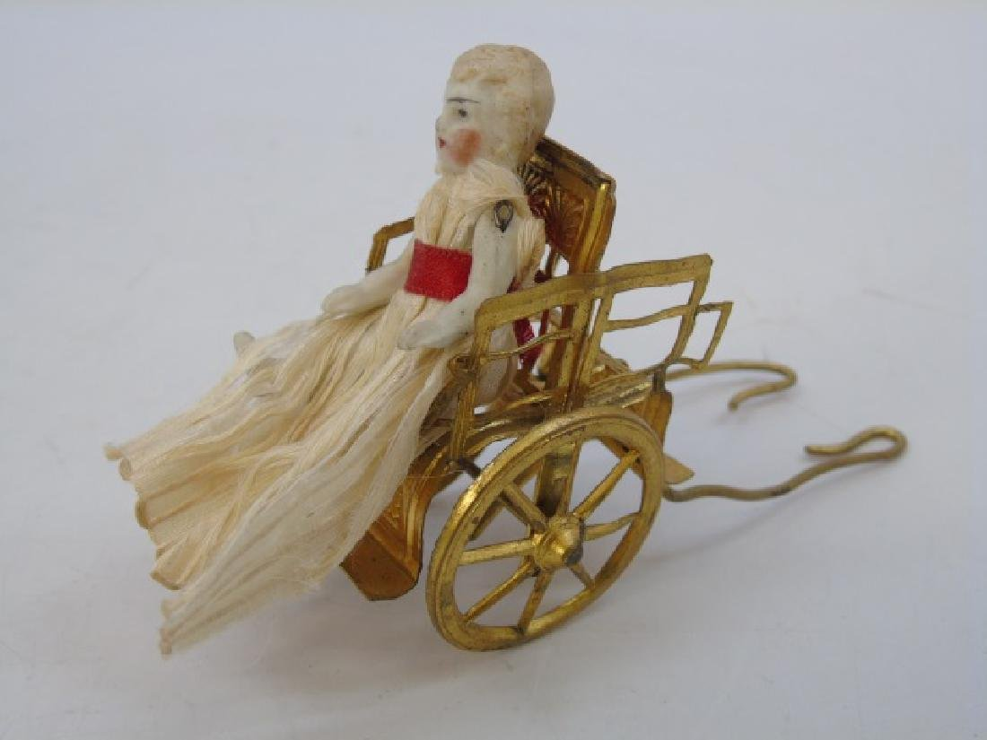 Antique Dollhouse Ormolu Carriage & Bisque Doll