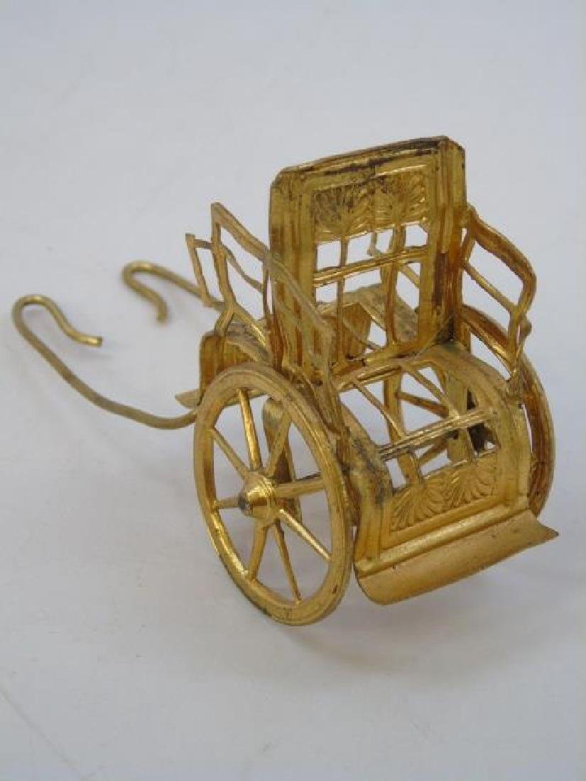 Antique Dollhouse Ormolu Carriage & Bisque Doll - 2