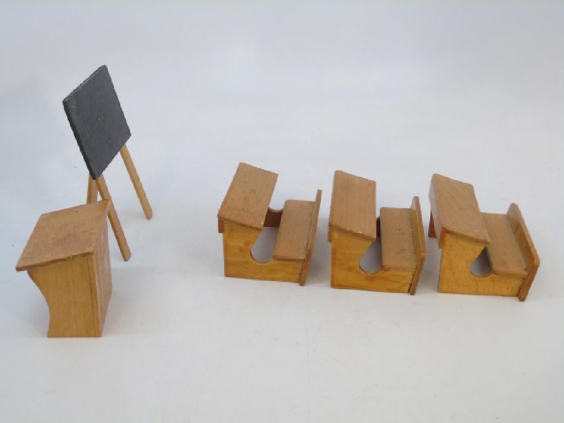 Antique Dollhouse / Doll Miniature School Room Set