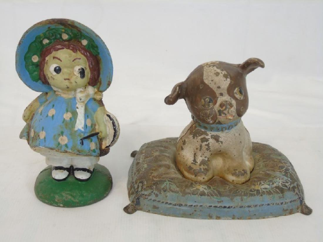 2 Antique Cast Iron Piggy Banks - Dog & Girl