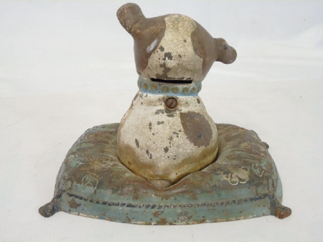 2 Antique Cast Iron Piggy Banks - Dog & Girl - 4