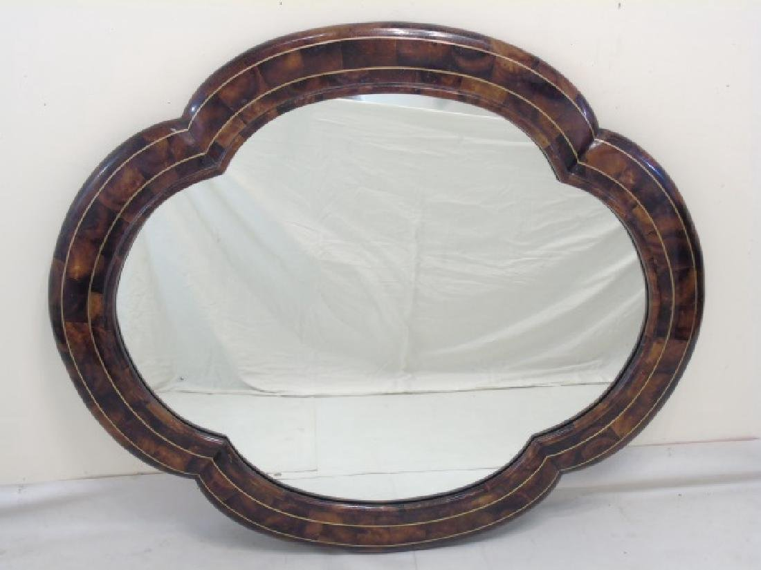 Contemporary Oval Mirror w Faux Wood Painted Frame