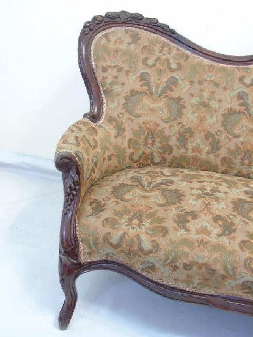 Antique American Victorian Carved Wood Settee - 3