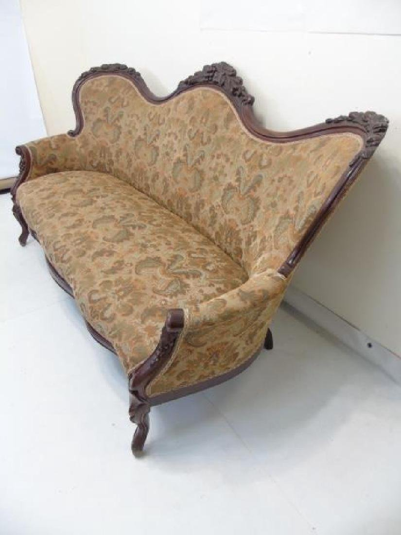 Antique American Victorian Carved Wood Settee - 4