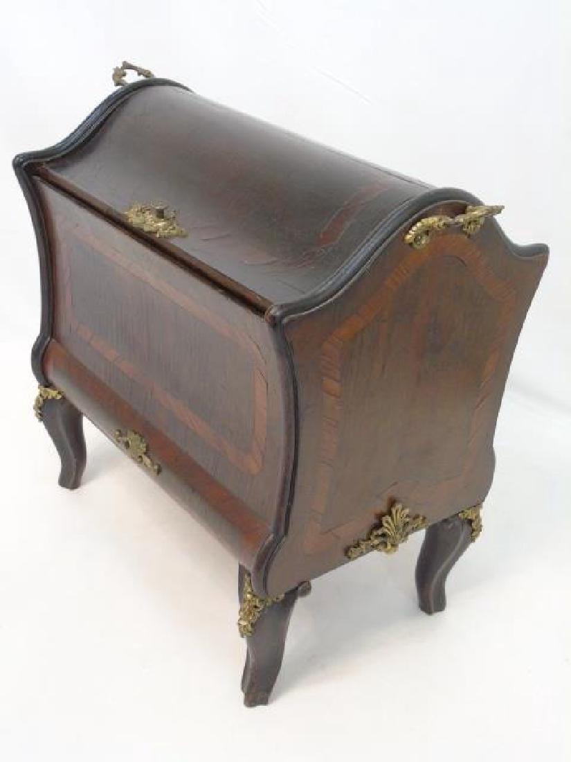 French Inlaid Wood Box  w Gilt Ormolu Accents