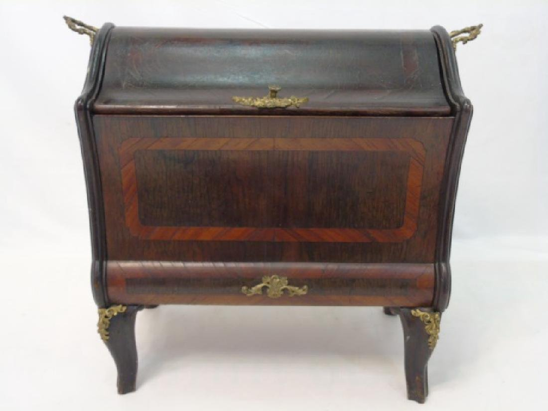 French Inlaid Wood Box  w Gilt Ormolu Accents - 2