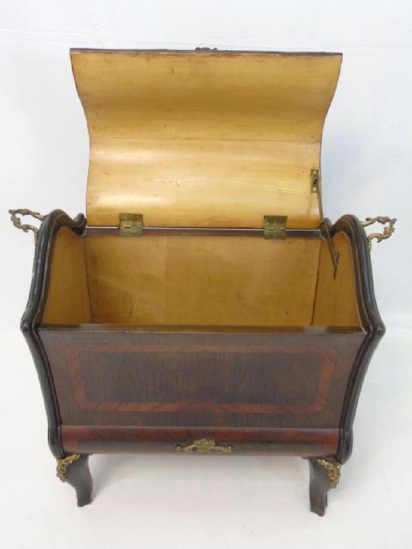 French Inlaid Wood Box  w Gilt Ormolu Accents - 3