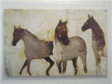 Large Contemporary Painting on Canvas of Horses