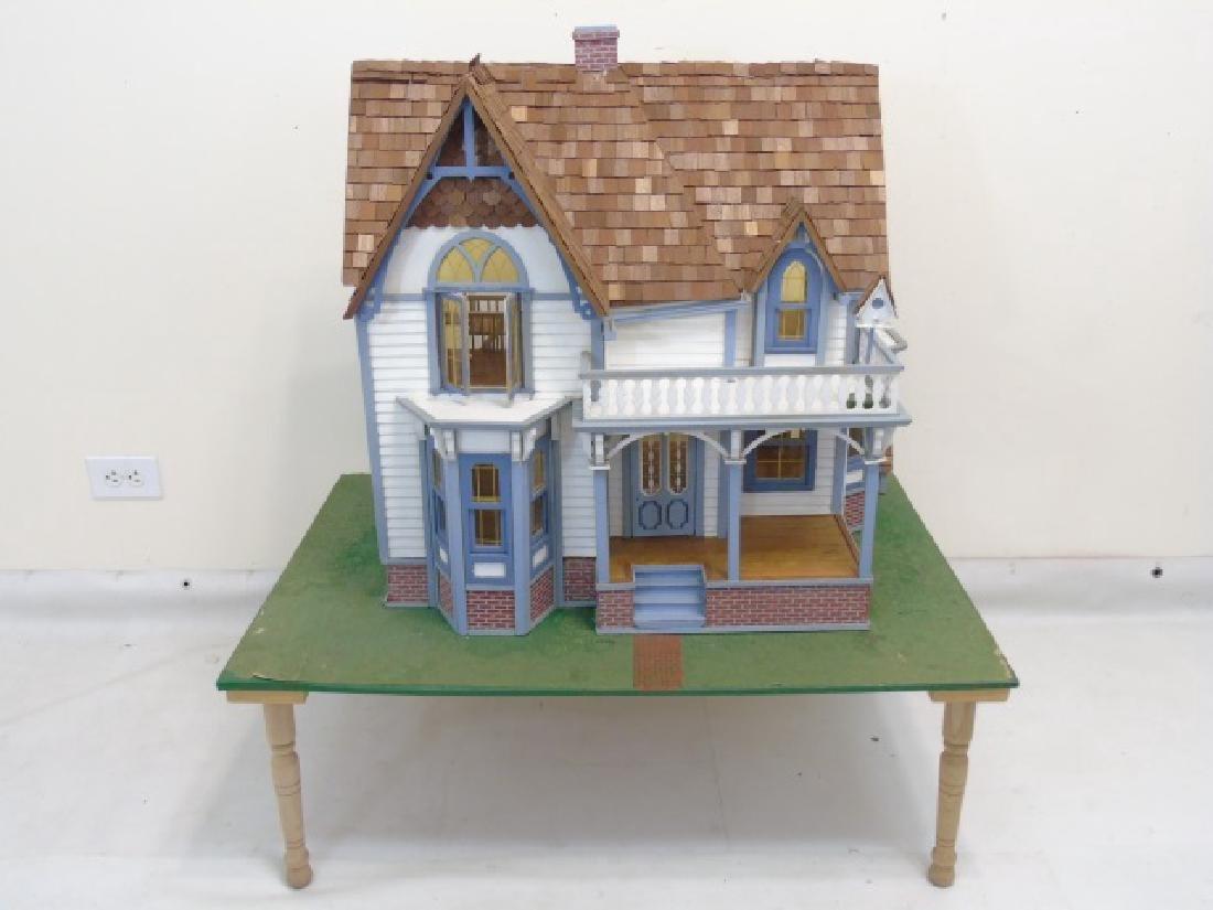 Detailed Shingle-Style Dollhouse & Doll Furniture