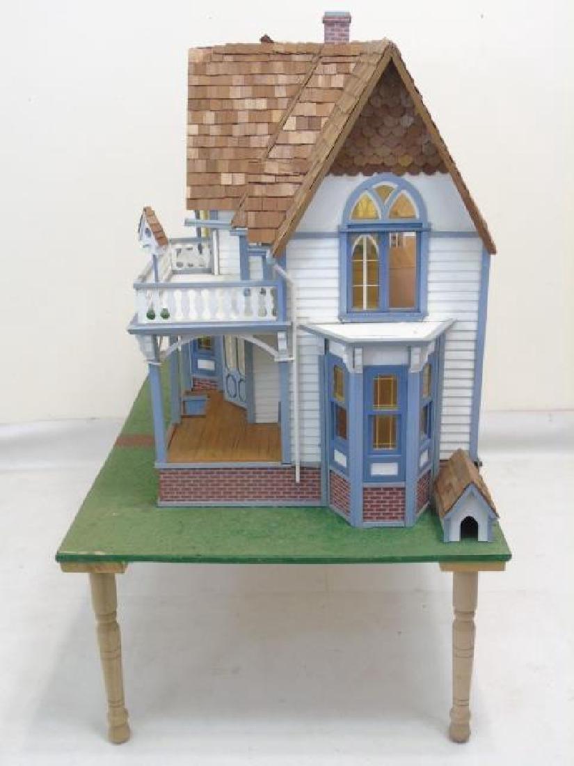 Detailed Shingle-Style Dollhouse & Doll Furniture - 2