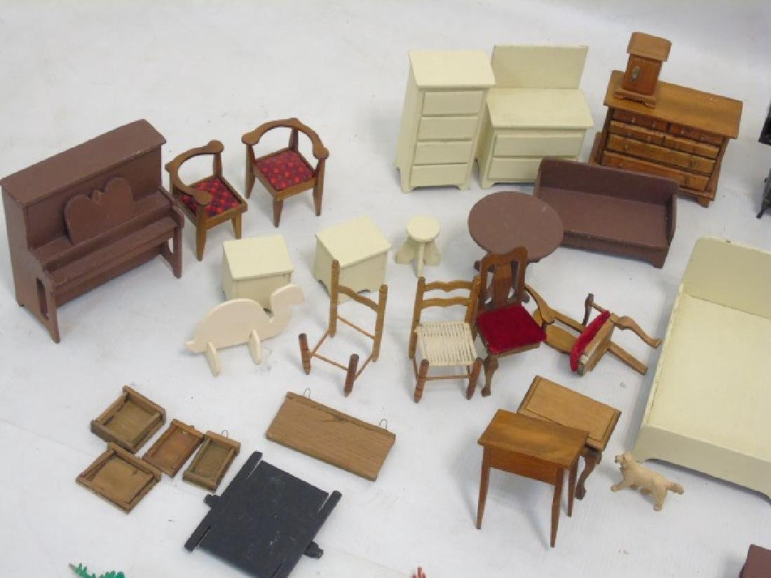 Detailed Shingle-Style Dollhouse & Doll Furniture - 8
