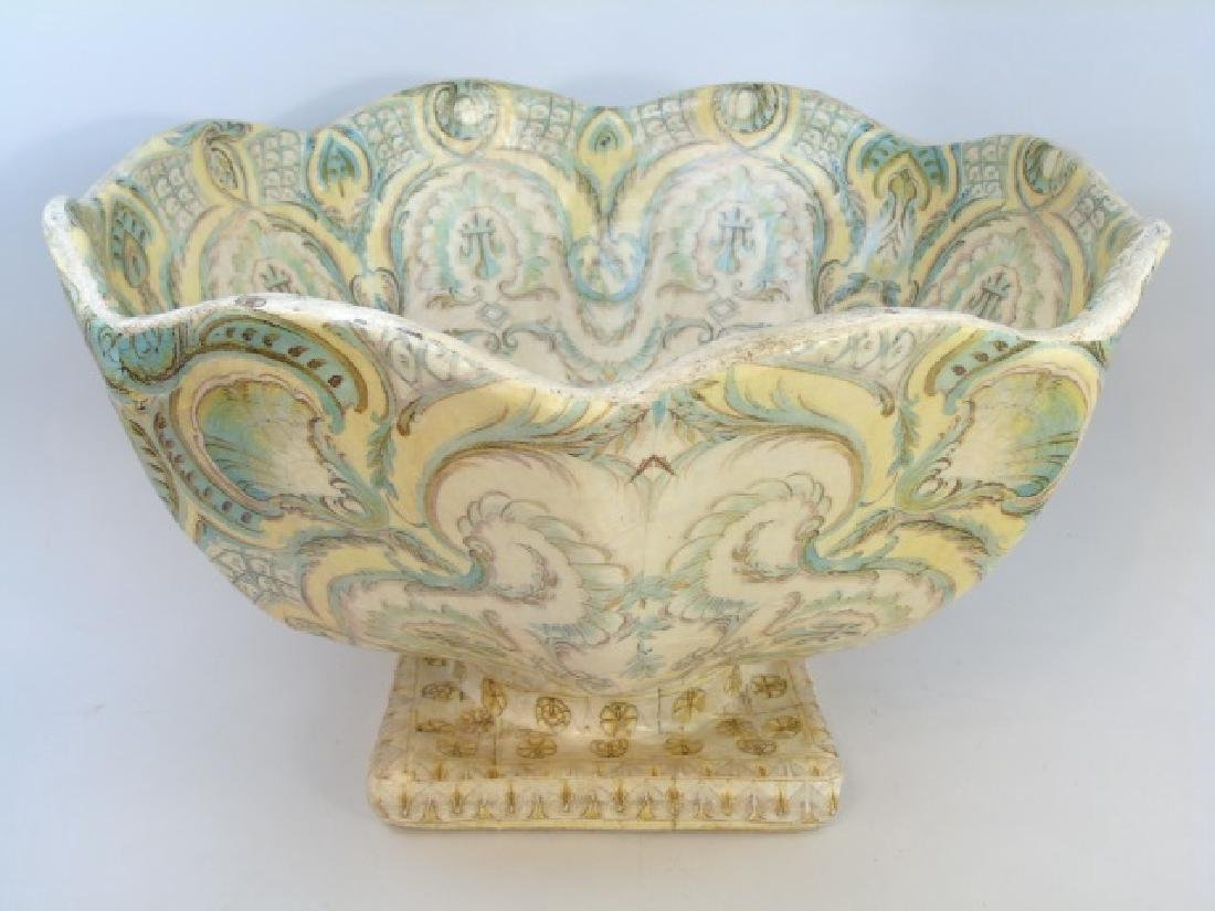 Large Papier Mache Footed & Patterned Bowl