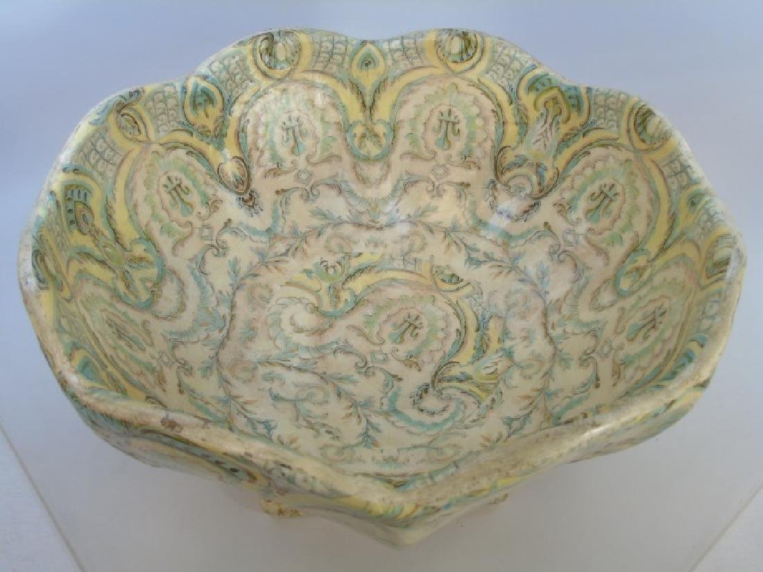 Large Papier Mache Footed & Patterned Bowl - 2
