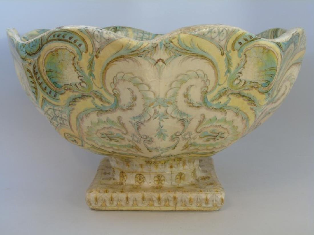 Large Papier Mache Footed & Patterned Bowl - 5
