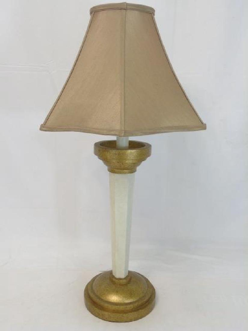 Tall Bronze-Cream Table Lamp with Tan Shade