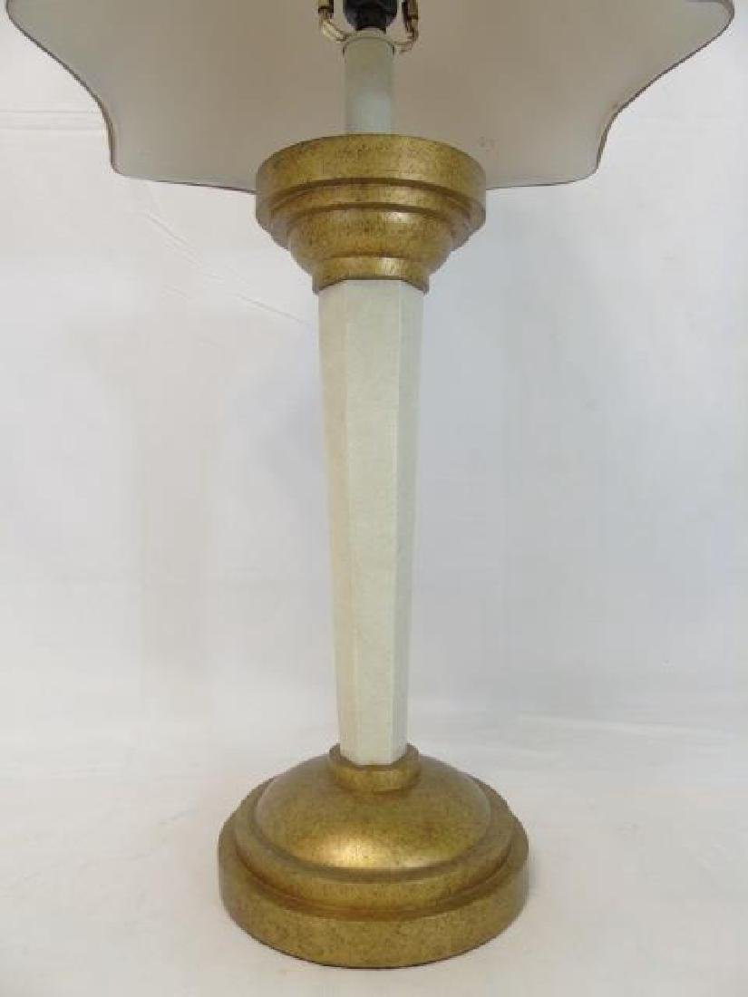 Tall Bronze-Cream Table Lamp with Tan Shade - 2