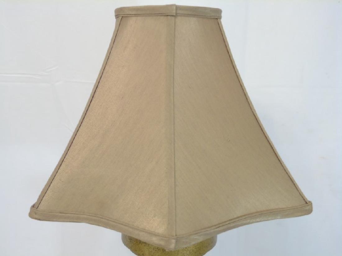 Tall Bronze-Cream Table Lamp with Tan Shade - 3