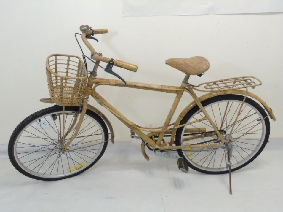 Antique Cream-Colored Bamboo Wicker Bicycle
