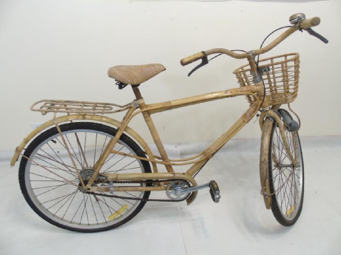 Antique Cream-Colored Bamboo Wicker Bicycle - 2