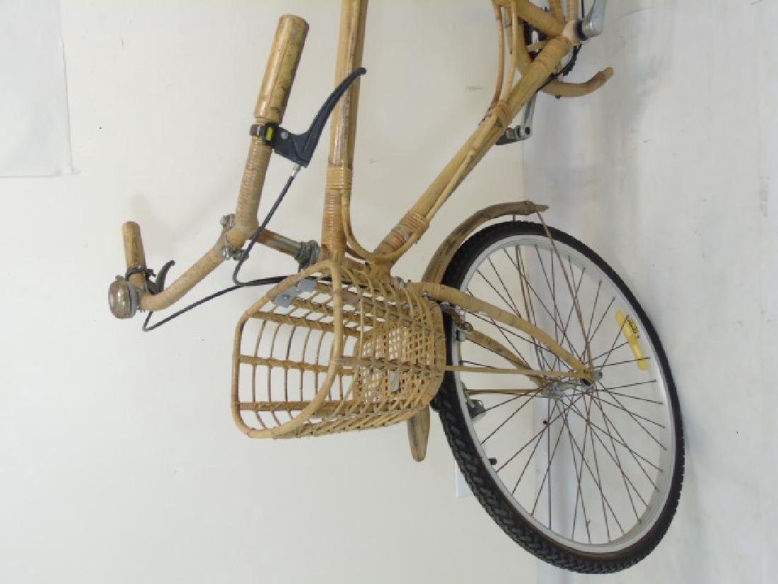Antique Cream-Colored Bamboo Wicker Bicycle - 3