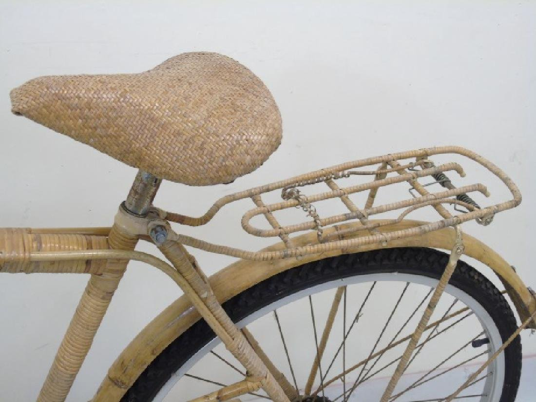 Antique Cream-Colored Bamboo Wicker Bicycle - 4