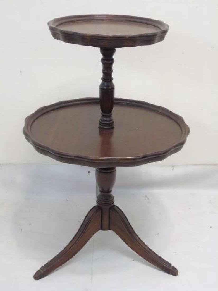 Vintage Butler's 2 Level Mahogany Pedestal Table