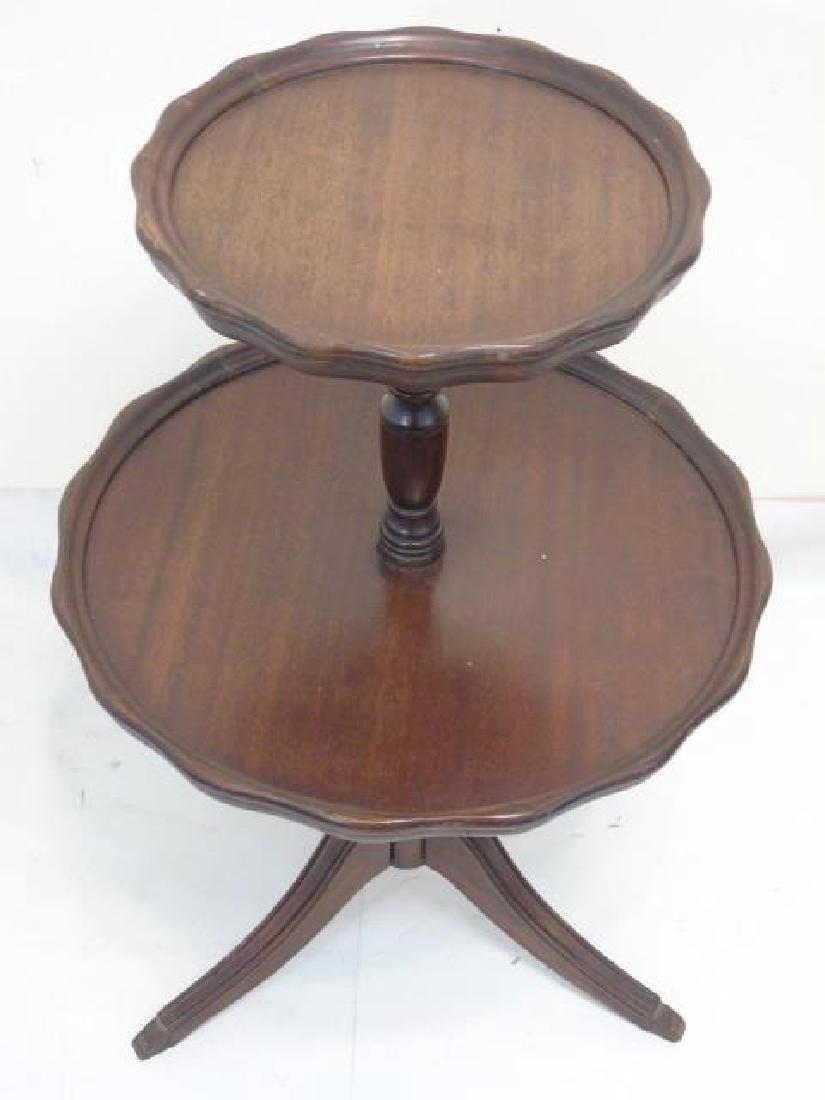Vintage Butler's 2 Level Mahogany Pedestal Table - 2
