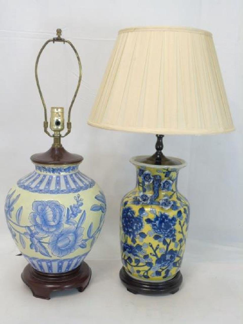 2 Chinese Porcelain Electric Lamps Blue & Yellow