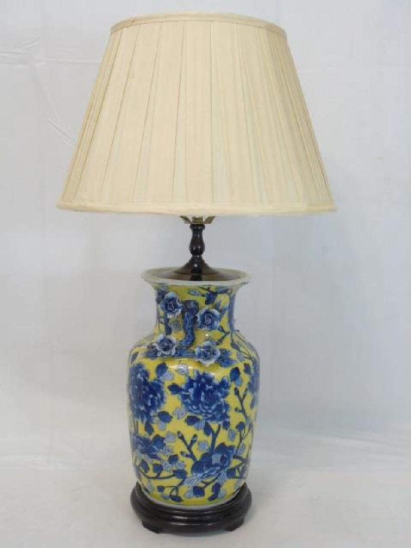 2 Chinese Porcelain Electric Lamps Blue & Yellow - 3