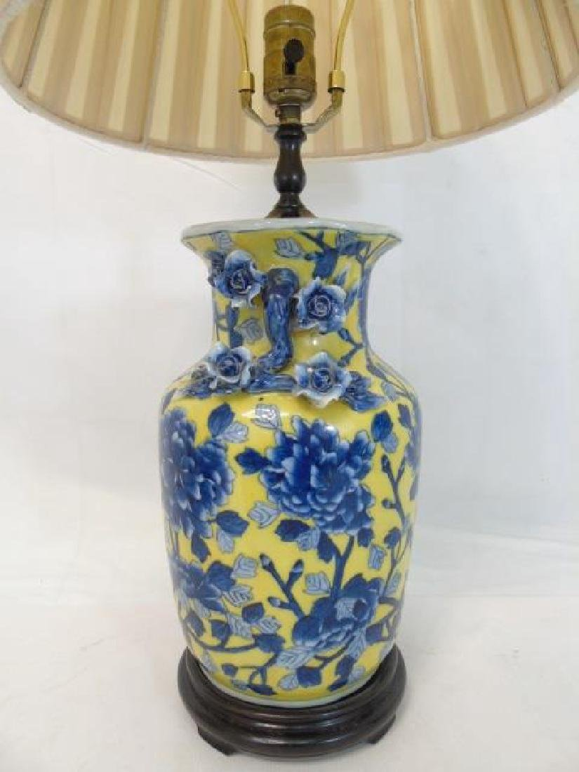 2 Chinese Porcelain Electric Lamps Blue & Yellow - 4