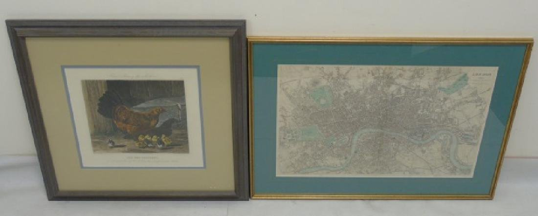 2 Antique English Etchings London Map & Hen w Chix