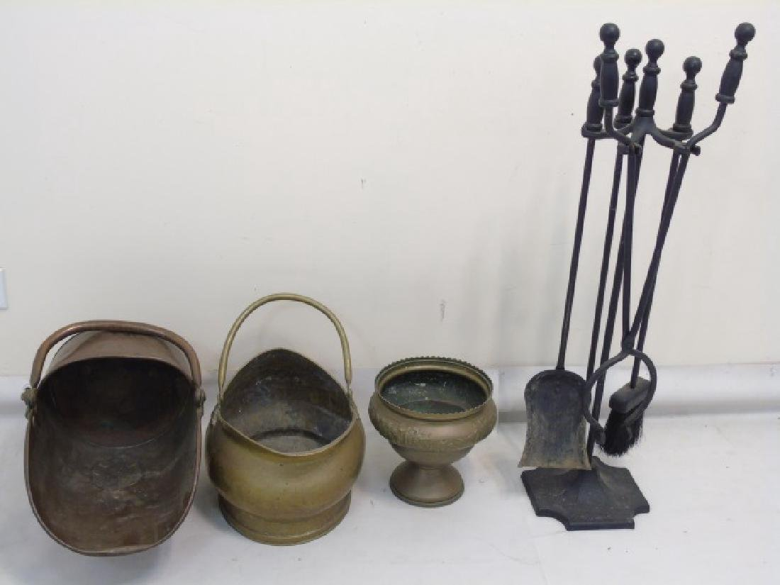 Group Vintage Fireplace Items Coal Scuttles Tools