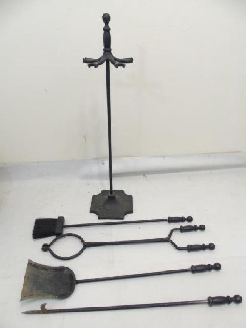 Group Vintage Fireplace Items Coal Scuttles Tools - 6