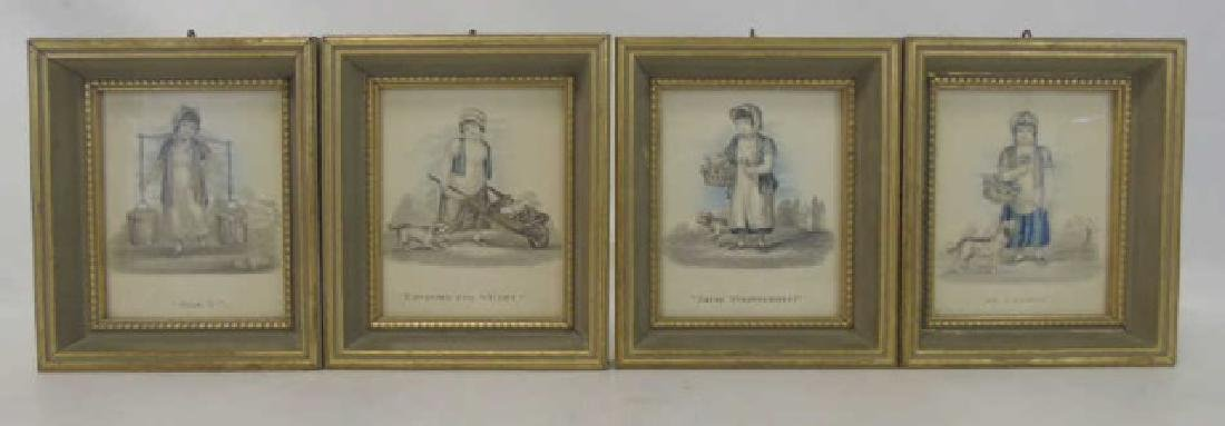 Set of 4 Antique Prints of Children Selling Wares