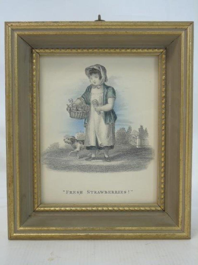 Set of 4 Antique Prints of Children Selling Wares - 2