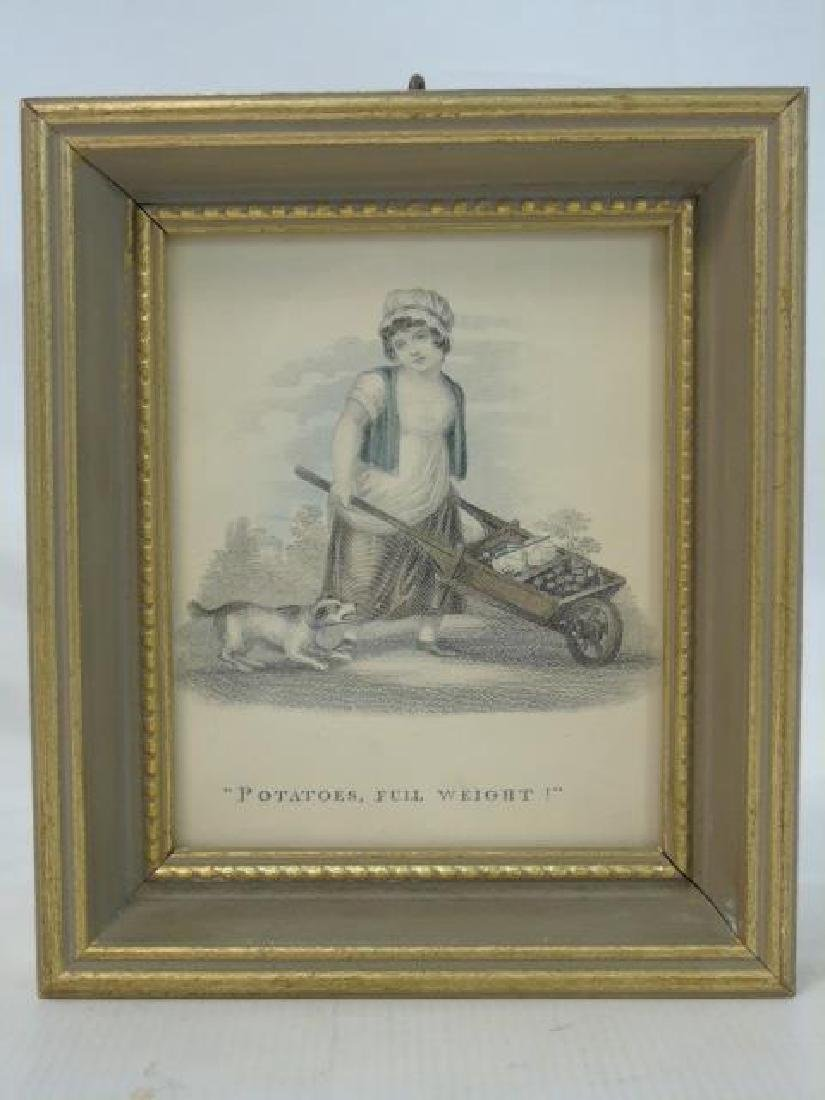 Set of 4 Antique Prints of Children Selling Wares - 4
