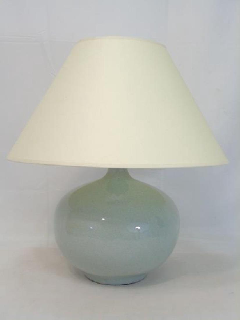 Large Chinese Celadon Urn Shaped Vase Lamp