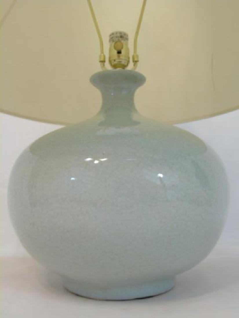 Large Chinese Celadon Urn Shaped Vase Lamp - 2
