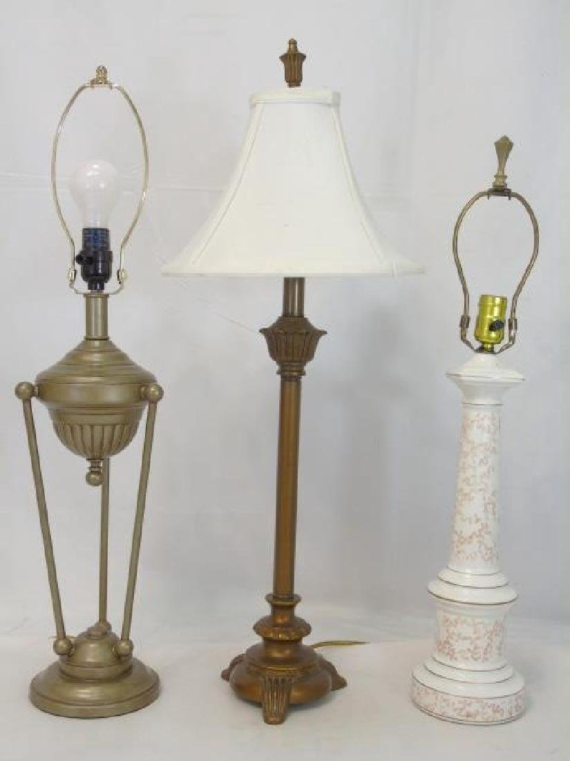 3 Table Lamps Bronze Tone and White Porcelain