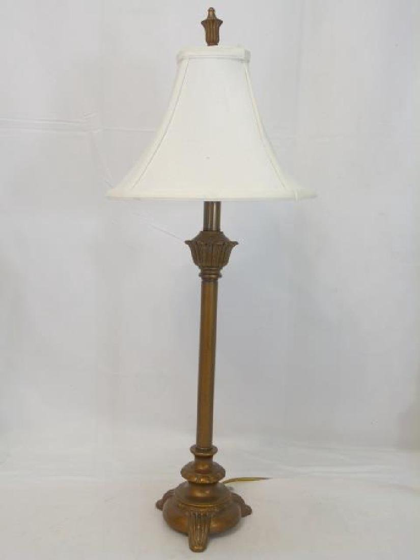 3 Table Lamps Bronze Tone and White Porcelain - 3